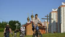cycling to church in Belarus